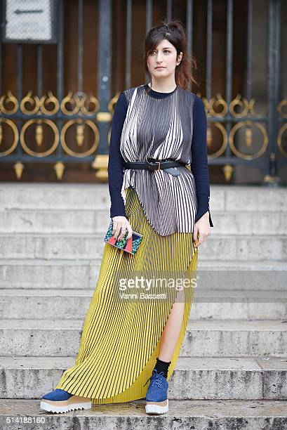 Valentina Siragusa poses wearing Stella McCartney before the Stella McCartney show at the Opera Garnier during Paris Fashion Week FW 16/17 on March 7...