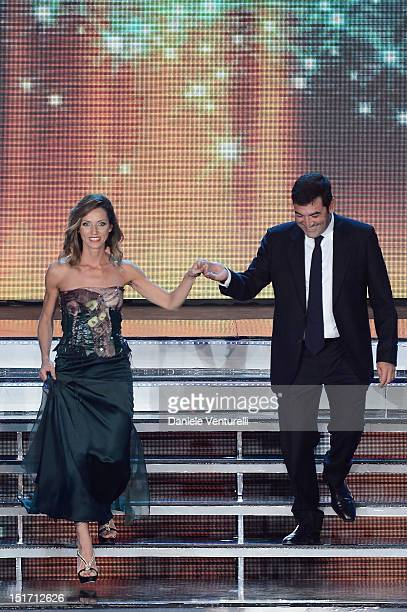 Valentina Vezzali and Max Giusti attend the 2012 Miss Italia beauty pageant at the Palazzetto of Montecatini on September 10 2012 in Montecatini...