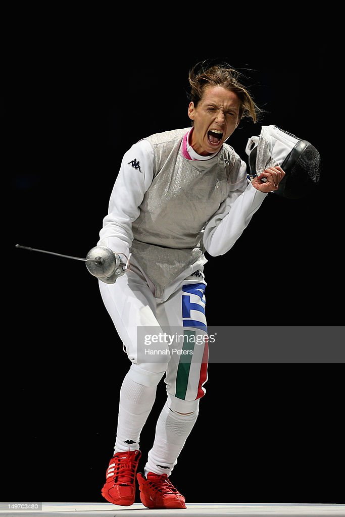 <a gi-track='captionPersonalityLinkClicked' href=/galleries/search?phrase=Valentina+Vezzali&family=editorial&specificpeople=772094 ng-click='$event.stopPropagation()'>Valentina Vezzali</a> of Italy celebrates during her contest with <a gi-track='captionPersonalityLinkClicked' href=/galleries/search?phrase=Inna+Deriglazova&family=editorial&specificpeople=7980063 ng-click='$event.stopPropagation()'>Inna Deriglazova</a> of Russia during the Women's Foil Team Fencing gold medal match on Day 6 of the London 2012 Olympic Games at ExCeL on August 2, 2012 in London, England.