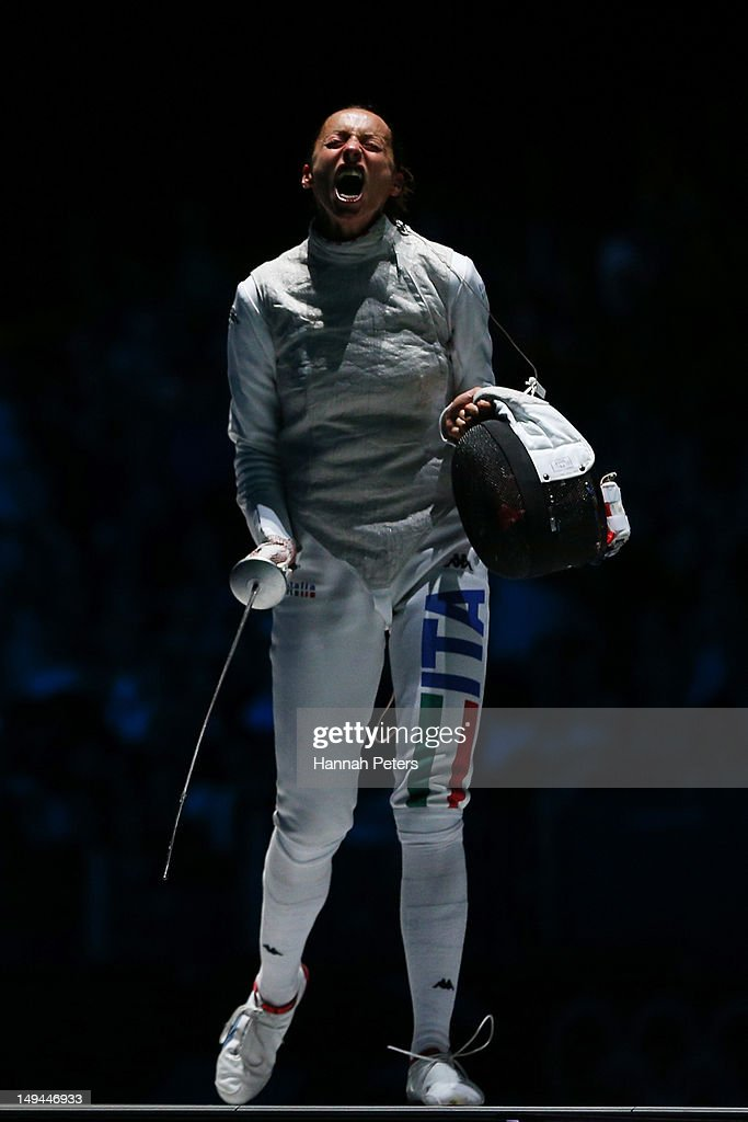 <a gi-track='captionPersonalityLinkClicked' href=/galleries/search?phrase=Valentina+Vezzali&family=editorial&specificpeople=772094 ng-click='$event.stopPropagation()'>Valentina Vezzali</a> of Italy celebrates during her Women's Foil Individual Fencing Bronze Medal Bout against Hyun Hee Nam of Korea on day one of the London 2012 Olympic Games at ExCeL on July 28, 2012 in London, England.