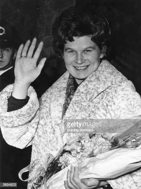 Valentina Vladimirovna Tereshkova the Russian astronaut arriving in London