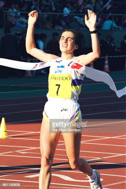 Valentina Yegorova of Russia crosses the finish tape to win the 15th Tokyo International Women's Marathon at the National Stadium on November 21 1993...