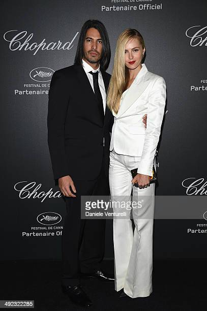 Valentina Zelyaeva and guest arrive to the Chopard Backstage Dinner Afterparty at the CannesMandelieu Aerodrome during the 67th Annual Cannes Film...
