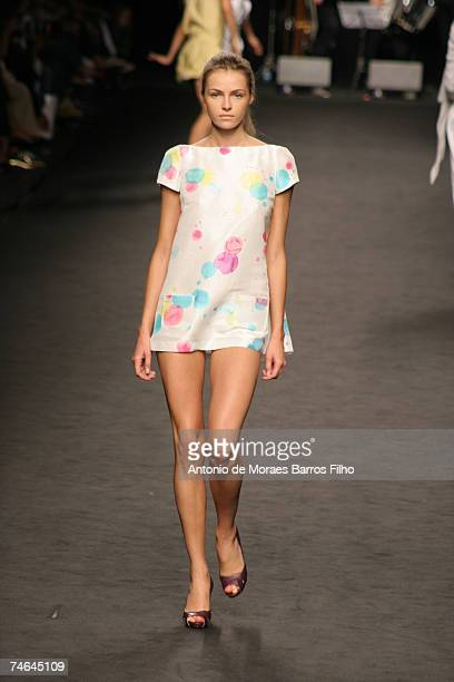 Valentina Zelyaeva wearing Frankie Morello Spring/Summer 2007 in Milan Italy