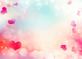 Valentine's day illustration background.Defocused hearts blurred backdrop.Holiday romantic wallpaper.