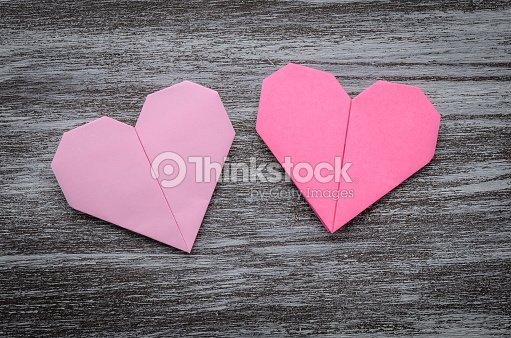 Valentine Greeting Paper Folded Origami Love Heart On Wooden Bac ...