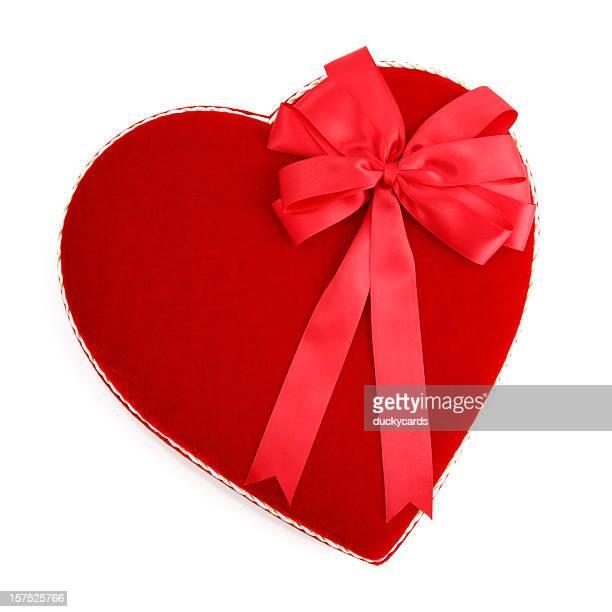 ヴァレンティーヌハート型キャンディーボックスにレッドのリボン