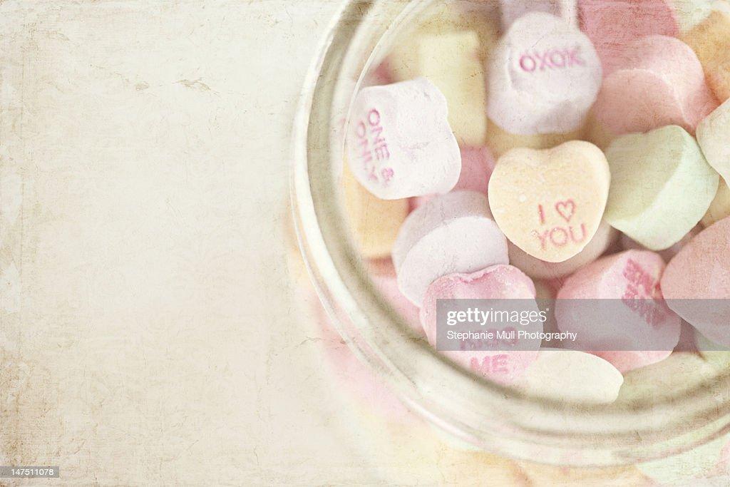 Valentine hearts in glass mason jar