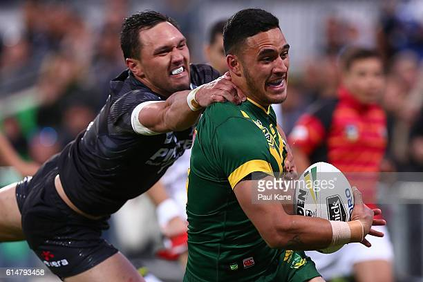 Valentine Holmes of Australia runs to the try line during the International Rugby League Test match between the Australian Kangaroos and the New...