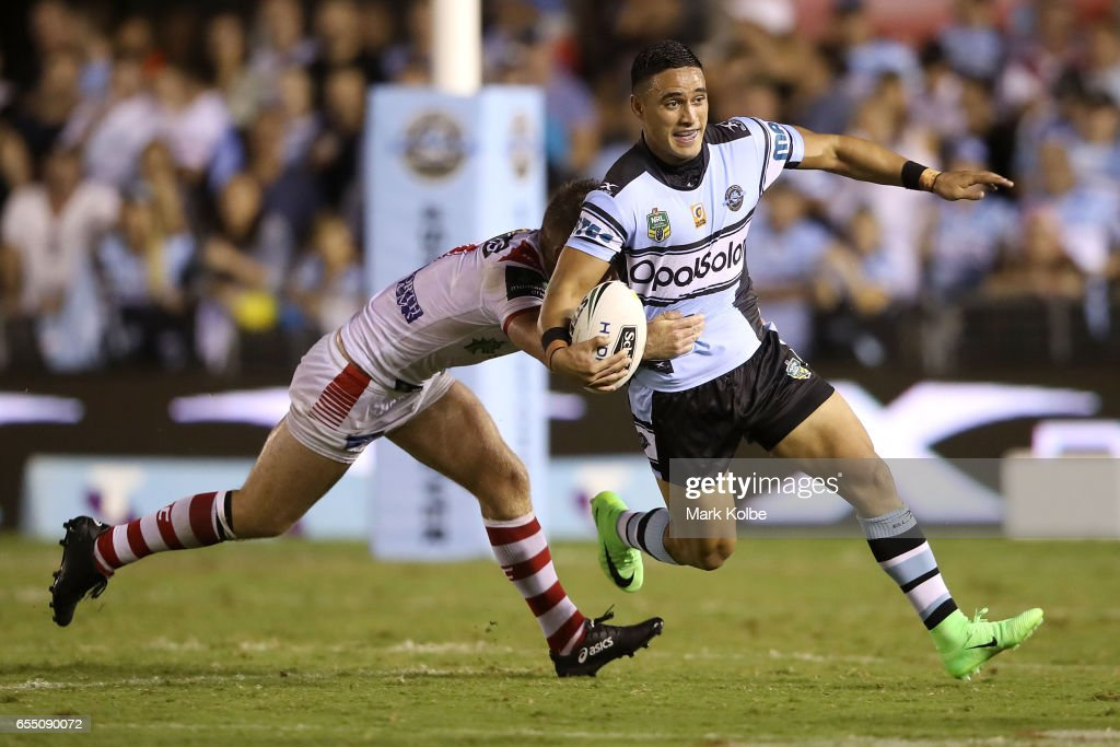 Valentine Holmes of the Sharks is tackled during the round three NRL match between the Cronulla Sharks and the St George Illawarra Dragons at Southern Cross Group Stadium on March 19, 2017 in Sydney, Australia.