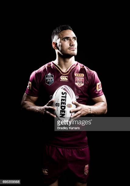 Valentine Holmes poses for a photo during a Queensland Maroons State of Origin media session at the Rydges Hotel on June 13 2017 in Brisbane Australia