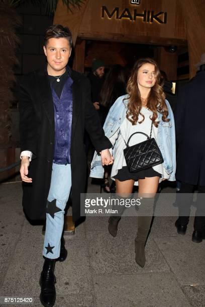 Valentine Sozbilir and Mimi Bouchard at Mahiki Kensington on November 16 2017 in London England