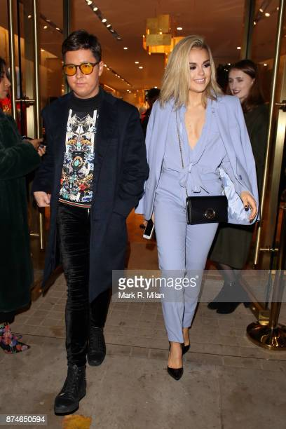 Valentine Sozbilir and Tallia Storm at the Escada store on Sloane Street on November 15 2017 in London England