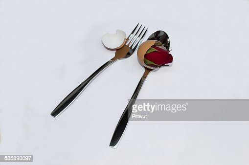 Valentine,love,wedding,spoon,Rose,flower : Stock Photo