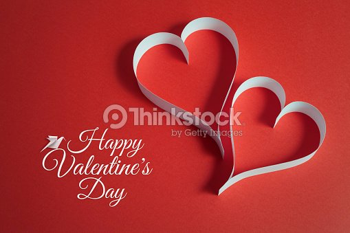 Valentines Day Background With Origami Dove And Paper Craft Hearts
