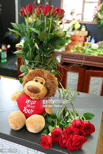 Valentine's Day bear and roses are displayed inside a florist as Sydneysiders prepare for Valentine's Day on February 12 2014 in Sydney Australia St...