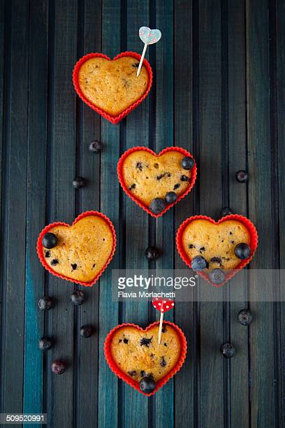 Valentine's day blueberry muffins, heart shaped