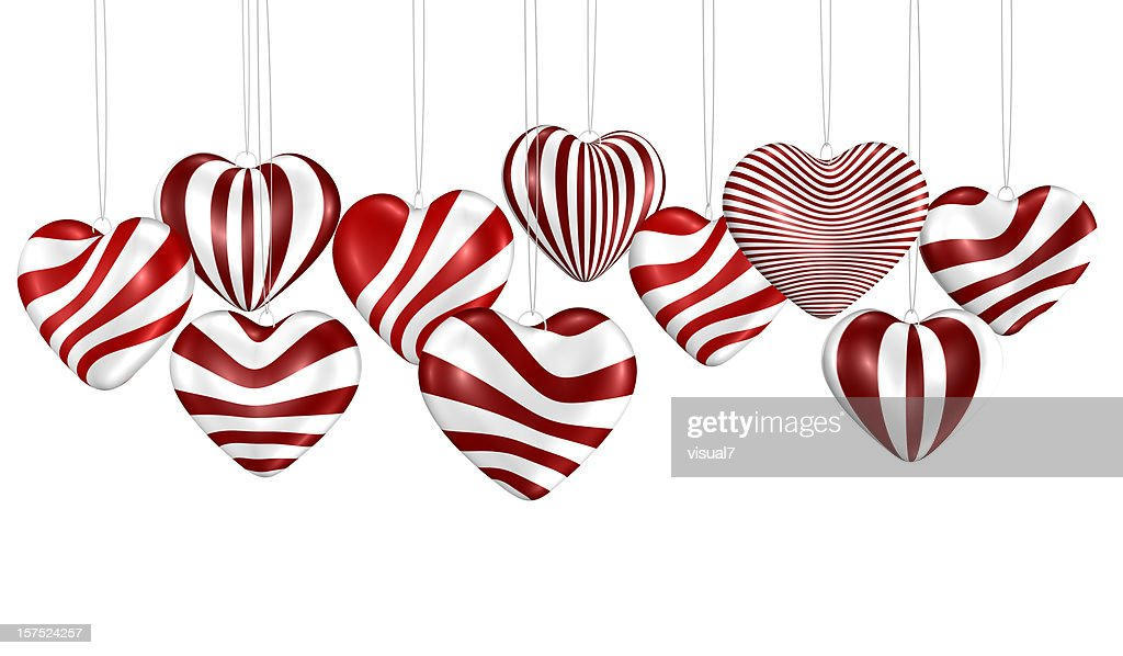Valentine's day, bunch of hearts hanging on a chain : Stock Photo