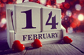 Valentines day calendar showing February 14 with red heart