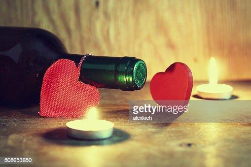 Valentine's Day candles wine : Stock Photo