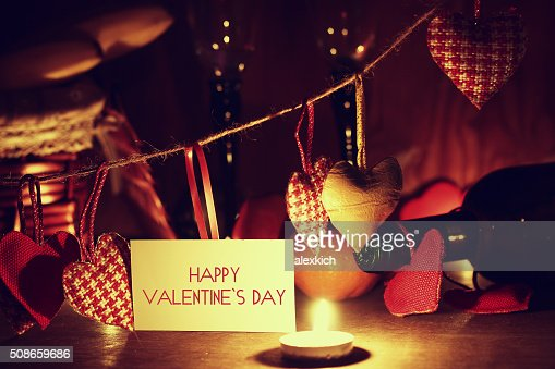 Valentine's Day candles wine : Stock Photo