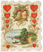 A Valentine's Day card showing two birds two strings of hearts and an inset riverside scene circa 1930 Inside the card is is a drawing of a little...