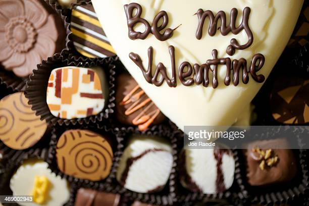 Valentine's Day chocolate treats are displayed at the Le Chocolatier fine chocolate store as they prepare for a Valentine's day rush on February 12...