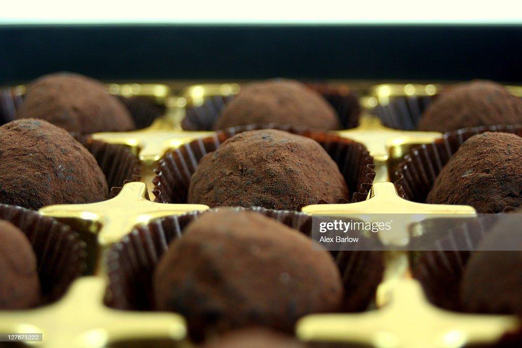Valentines day chocolate truffles : Stock Photo