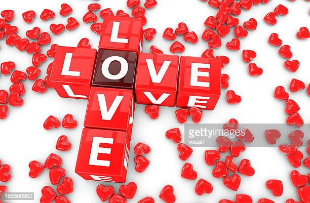 Valentine's day crossword with red hearts, love concept