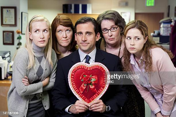 THE OFFICE 'Valentine's Day' Episode 16 Aired Pictured Angela Kinsey as Angela Martin Kate Flannery as Meredith Palmer Steve Carell as Michael Scott...