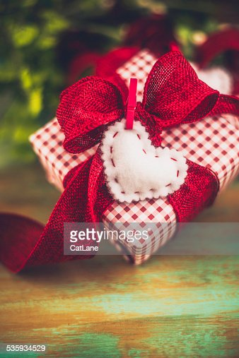 Valentine's Day gift with flowers : Stock Photo