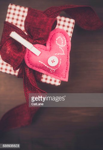 Valentine's day gift with handmade rustic heart : Stock Photo