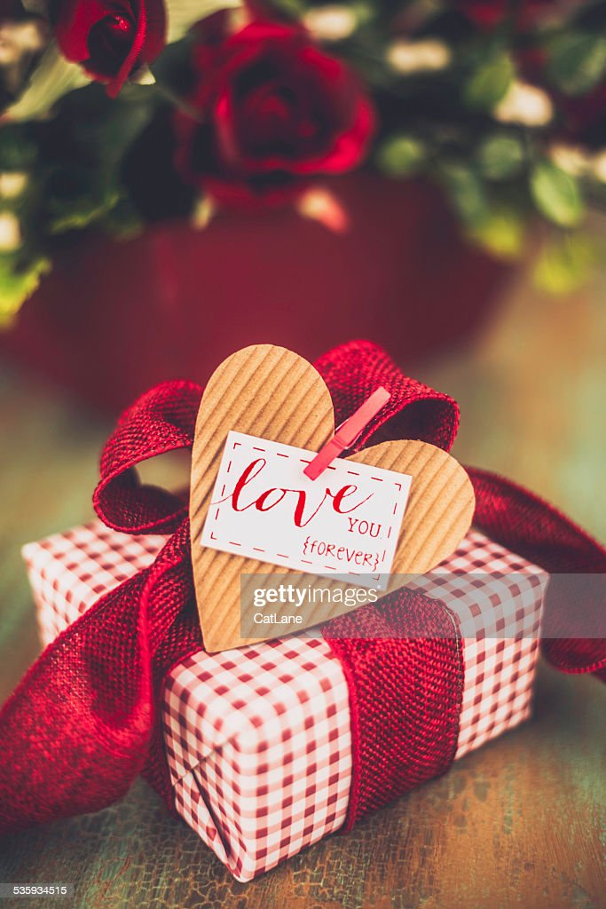 Valentine's Day gift with Love You message : Stock Photo