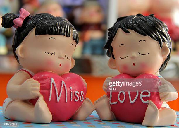 Valentine's Day gifts are displayed for sale at a store on February 11 2012 in Zaozhuang Shandong Province of China Preparations for the Valentine's...