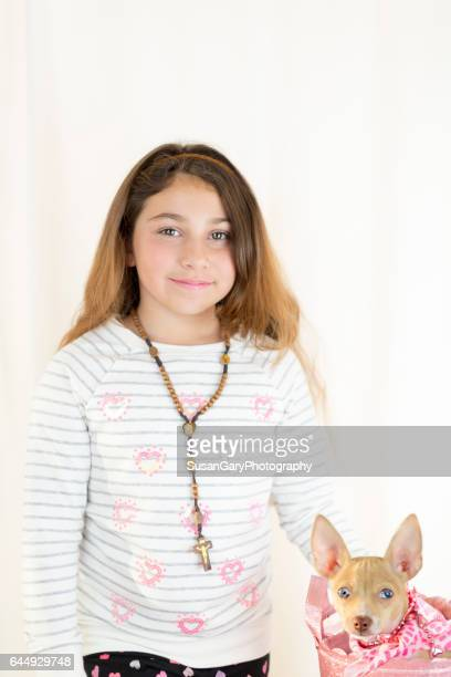 Valentine's Day Girl and Chihuahua Puppy