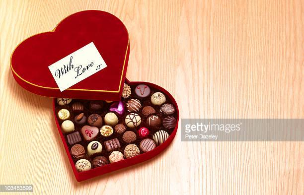 Valentines day heart shaped chocolates