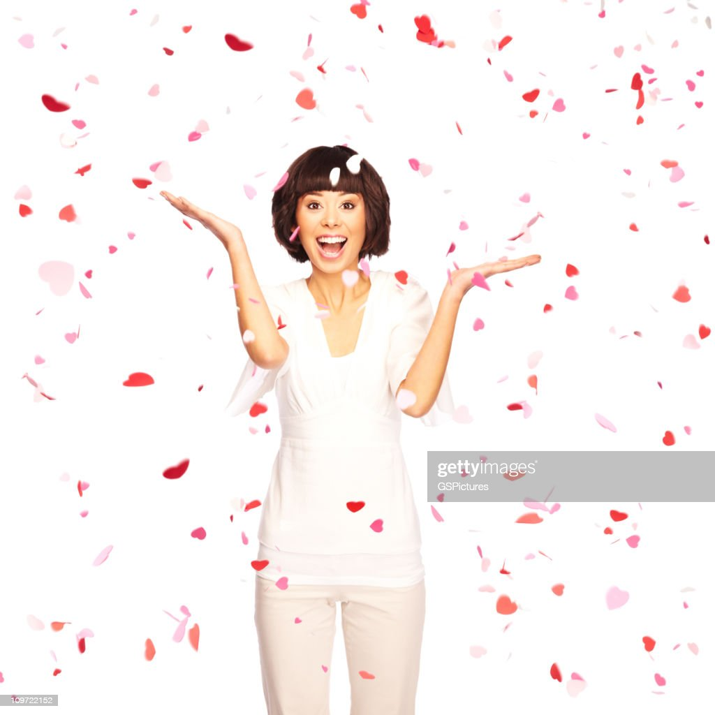 Valentine's Day Hearts falling from the sky : Stock Photo