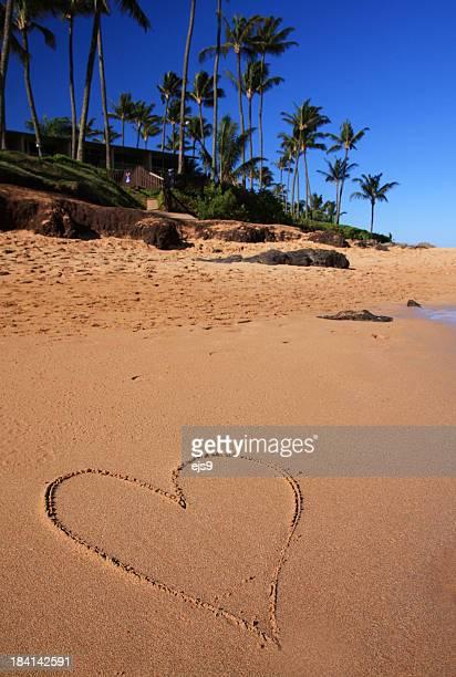 Valentine's day Love Heart on Maui Hawaii beach sand