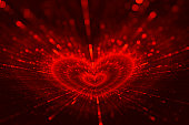 Valentine's Day Red Black Love Blurred Heart Bokeh Background Glittering Splash Cupid's Arrows Bright holiday pattern for graphic & web design, banner, poster, greeting card, brochure, invitations Fra