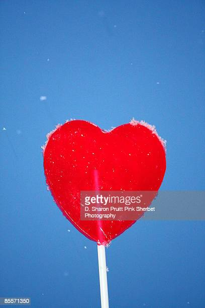 Valentines Day  Red Heart Lollipop on Blue Sky