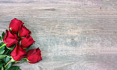 Valentine's Day Red Roses Over Wood Background, Horizontal, Copy Space