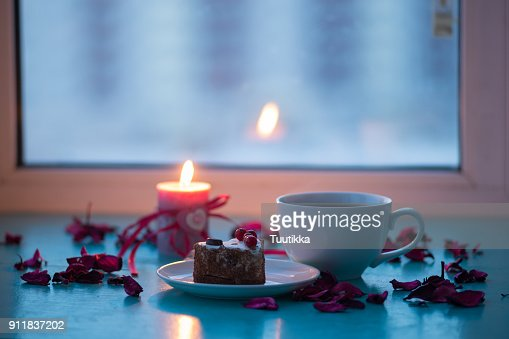 Valentines Day Romantic Dinner Big Cup Of Coffee And Cake Stock