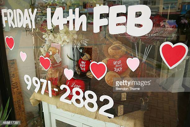 Valentine's Day sign is displayed outside a florist as Sydneysiders prepare for Valentine's Day on February 12 2014 in Sydney Australia St...