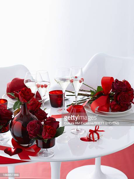 Valentines day table with red roses