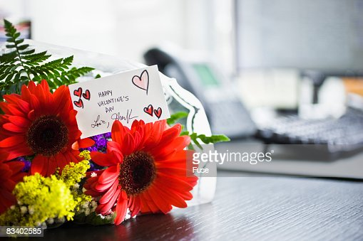 Valentine's Flowers on a Desk : Stock Photo