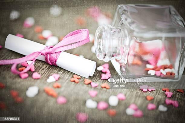 San Valentino messaggio in una bottiglia