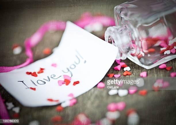 Valentinstag-Nachricht in einer Flasche