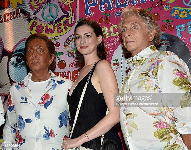Valentino and Anne Hathaway attend Flower Power party on August 11 2015 in Ibiza Spain