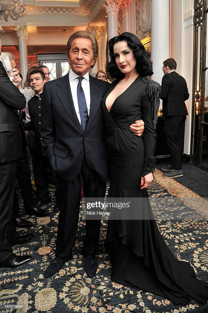 Valentino and <a gi-track='captionPersonalityLinkClicked' href=/galleries/search?phrase=Dita+Von+Teese&family=editorial&specificpeople=210578 ng-click='$event.stopPropagation()'>Dita Von Teese</a> attend the British Fashion Awards 2012 at The Savoy Hotel on November 27, 2012 in London, England.