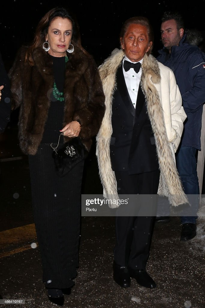 Valentino attends the Wedding of Andrea Casiraghi and Tatiana Santo Domingo at the Rougemont church on February 1, 2014 in Gstaad, Switzerland.